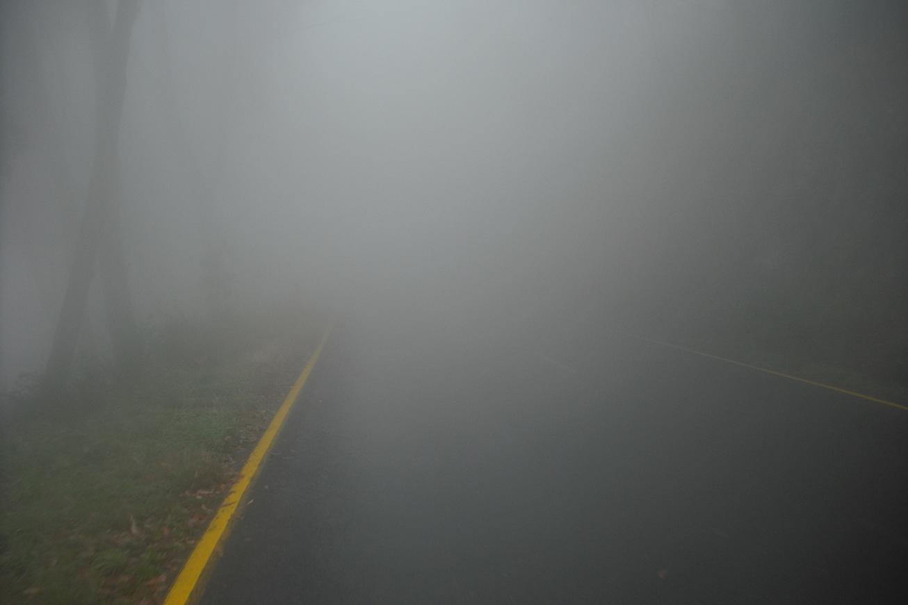 Low visibility on the Mt. Hotham climb