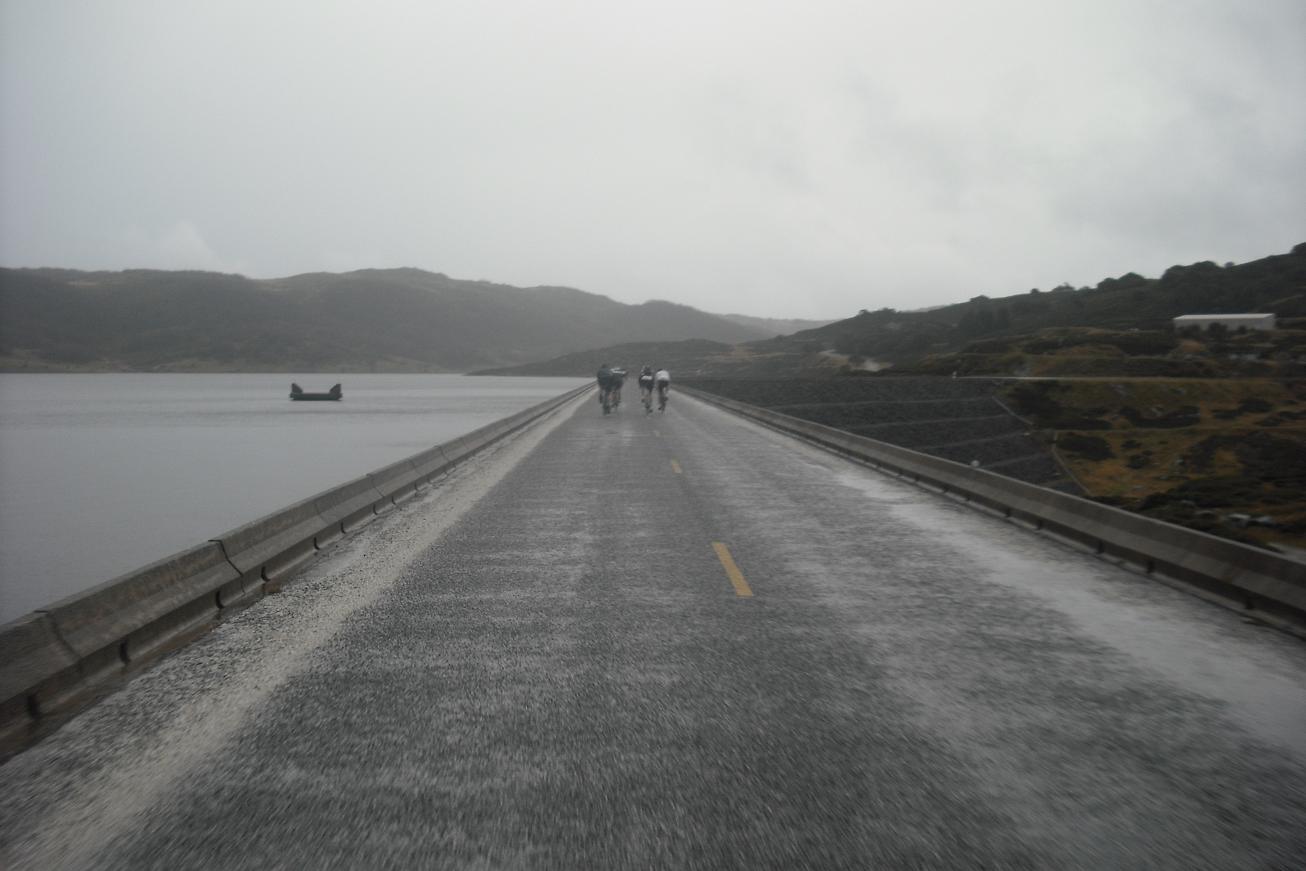 Crossing the Rocky Valley Dam