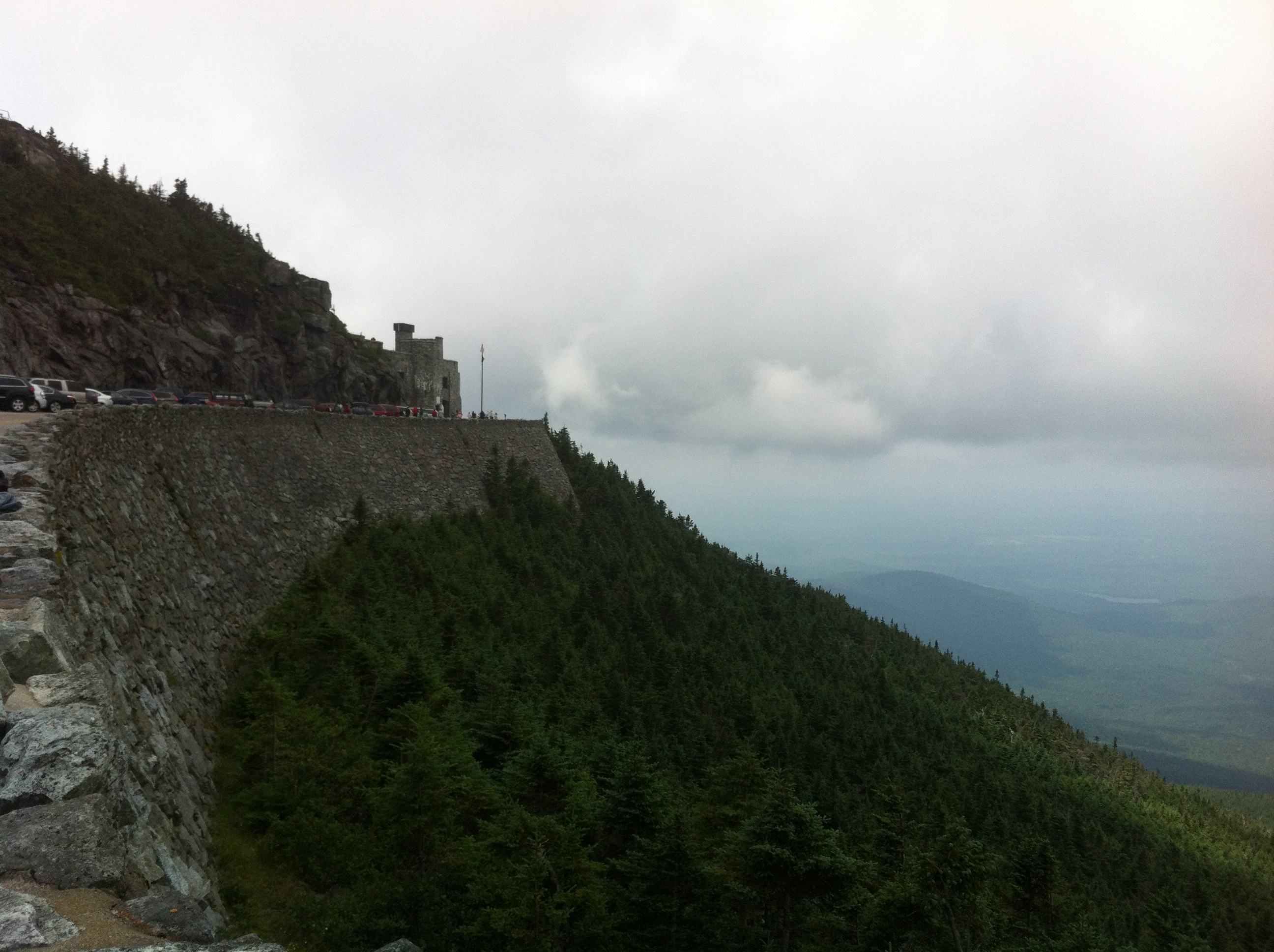 Approaching the castle atop Whiteface Mountain.