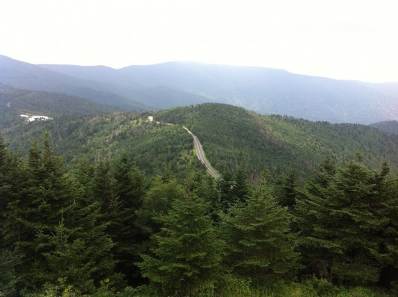 Looking down on the final kilometres of the Mt. Mitchell climb.