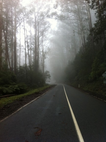 Riding through the fog on the second ascent.