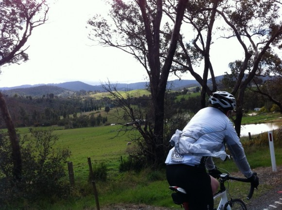Brendan on his way to the start of the Kinglake climb.