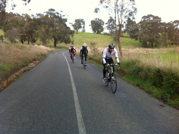 Heading to Strathewen with Fletch at the front, Evan behind him and Dougie at the back.