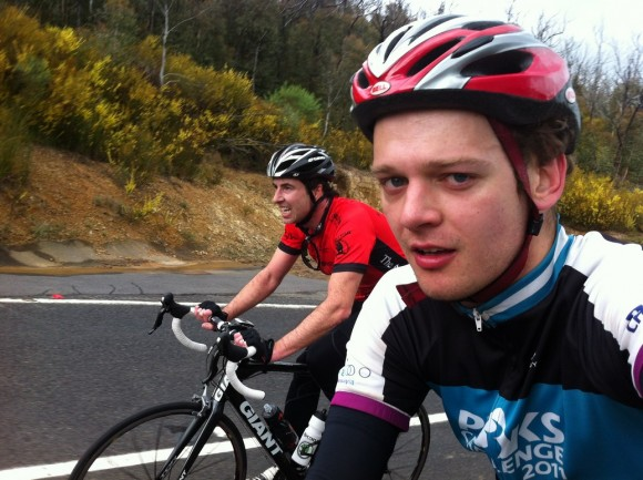 Fletch and I on the lower slopes of the Kinglake climb.