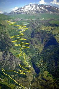 The famous hairpins of the Alpe d'Huez climb.