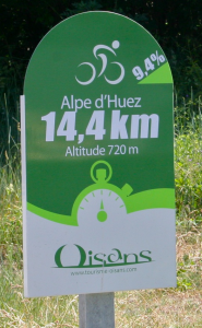 One of the many distance signs throughout the climb.