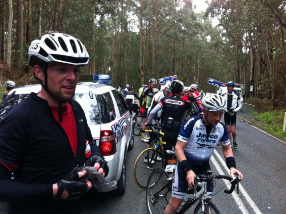 The Donvale Demon (left) just after crossing the line.