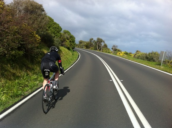 The Demon spent many of the ride's early kilometres on the front of the bunch.