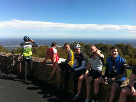 Having a much-earned rest after finishing the last climb of the day.