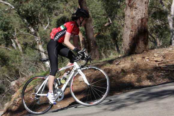 One of our two inaugural lady Legends leaving behind a painful 15% switchback on Corkscrew.