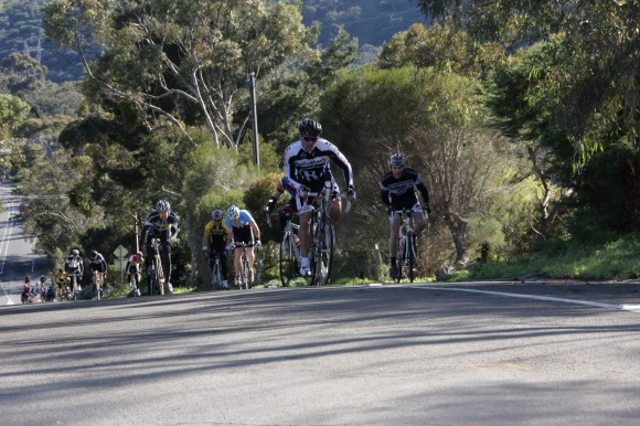 The frontrunners smashing their way up the 20% ramp of Coach Road ...