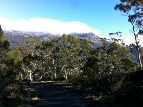 Descending Chimney Pot with a snow-capped Mt. Wellington in the background.