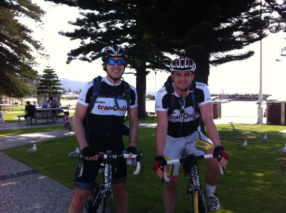 Fletch (l) and Dougie (r) on day one of their journey from Sydney to Melbourne.