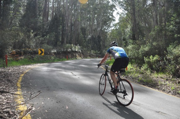 Brian grinds away through the steepest part of the climb. (Image: Tam van Bergen)