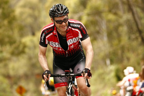 Josh reaches the Tawonga Gap to finish stage 1.