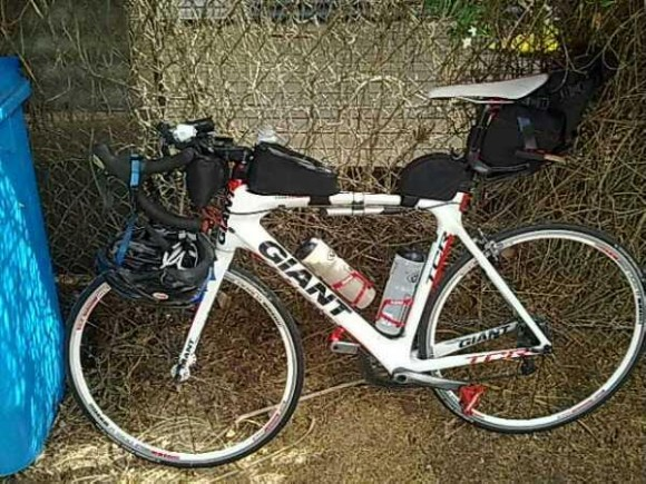 My bike loaded and ready to go. (Image: Joel Nicholson)