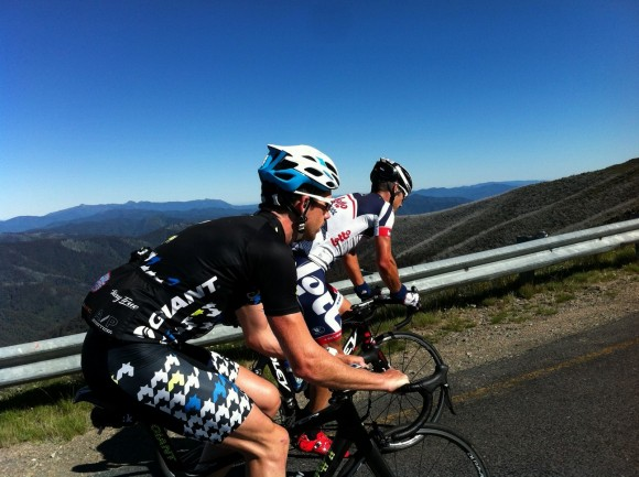 One of my coolest moments on the bike: summiting Mt. Hotham with Hendo and Pete.
