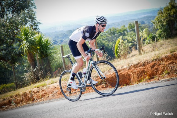 Andy van Bergen attacks Invermay Road in the drops. (Image: Nigel Welch)