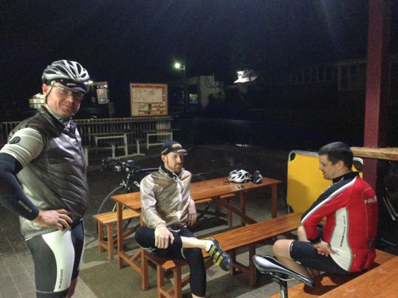 Nigel (left), Joel (center) and Brian (right) psych themselves up pre-ride.