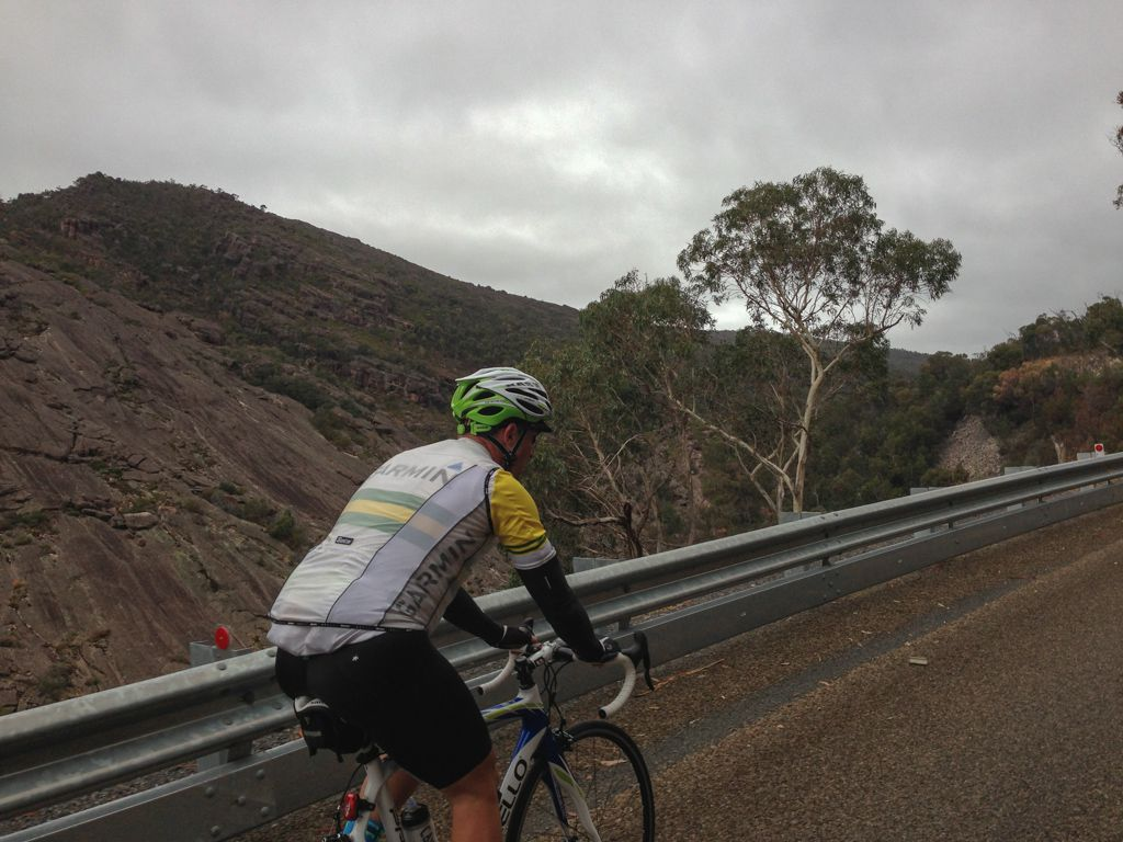 John climbing from Halls Gap to Reeds Lookout.
