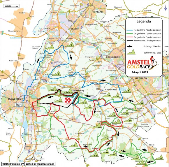 Route map courtesy of amstel.nl. Click for larger view.