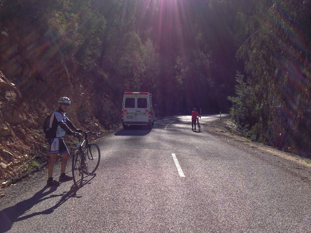 This first aid van was driving at about 15km/h up the hill.