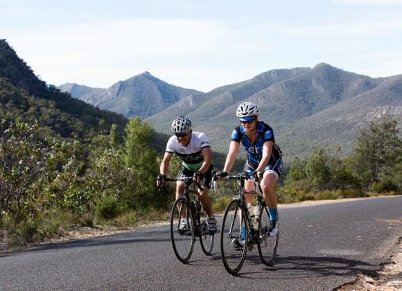 Tim and Nicole climb the Mirranatwa Gap. (Image: Wil Gleeson)