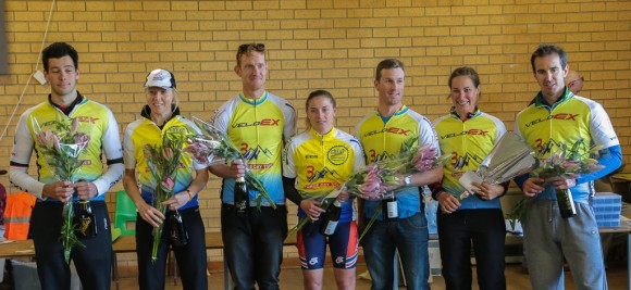 General classification winners, from left to right: James Butler (men's A), Felicity Wardlaw (women's A), Mathew Gray (men's B), Elizabeth Doueal (women's B), Hugh Peck (men's C), Kimberly Wepasnick (women's C) and Trent McCamley (men's D).