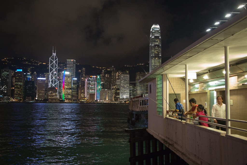 View from the Kowloon side of the harbour over to Hong Kong Island.