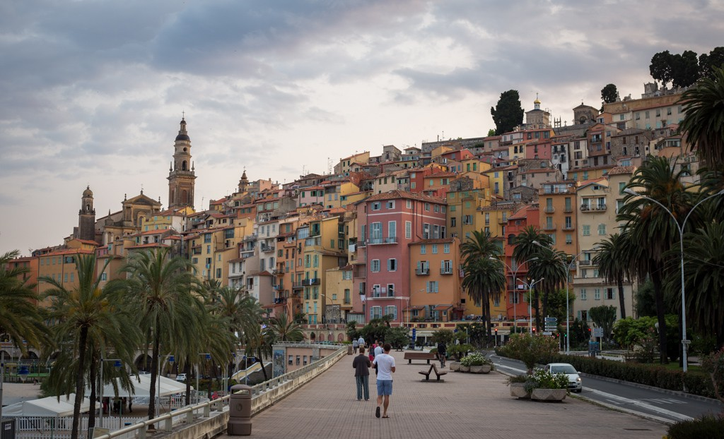 Looking at the old town of Menton.