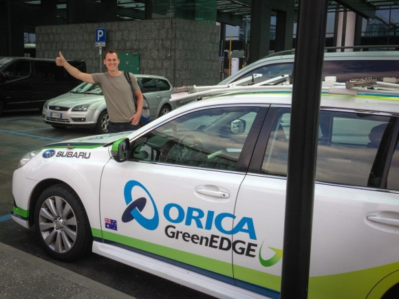 Getting picked up from the airport in an Orica-GreenEDGE car was pretty awesome.
