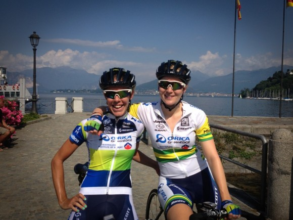 Jess (left) and Gracie (right) with Lake Maggiore in the background.