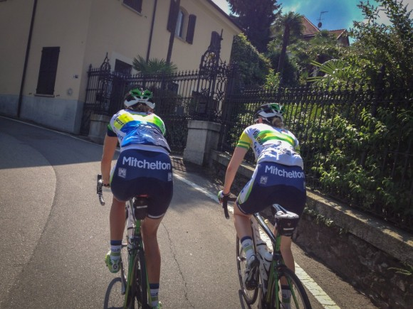Jess (left) and Gracie (right) on the Scuole di Luino climb.