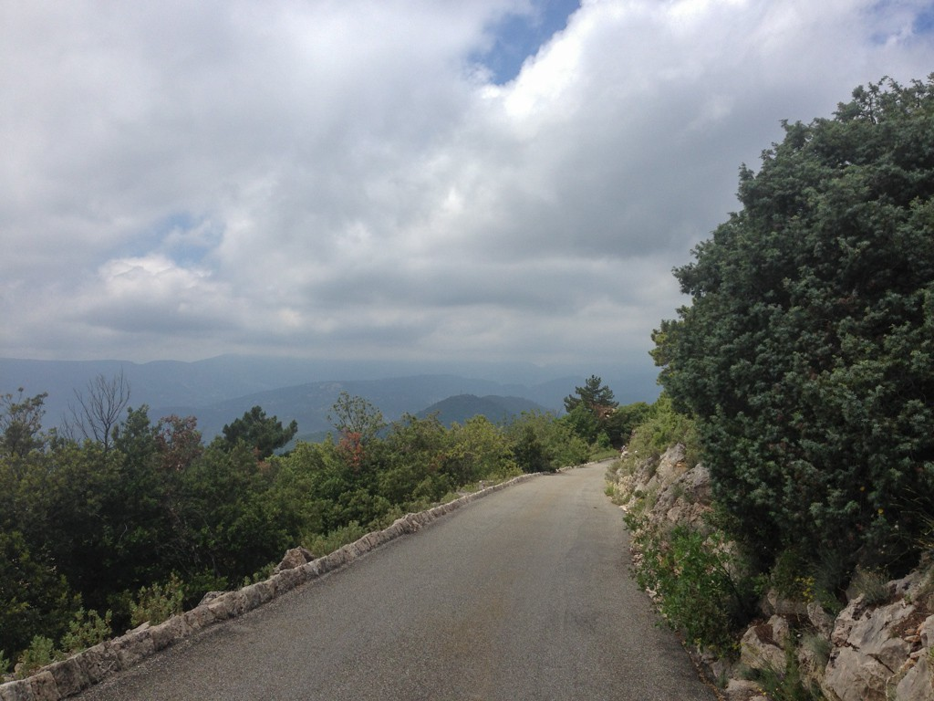 Descending the Col de la Madone towards Peille.