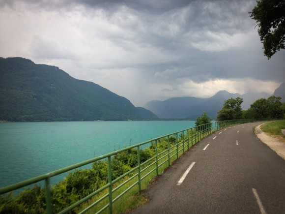 Heading along the western shore of Lake Annecy, straight into a storm.