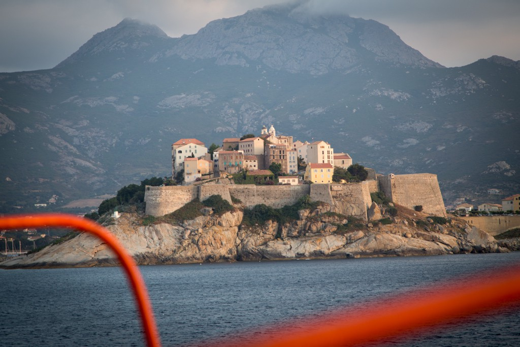 View from the ferry on the approach to Corsica.