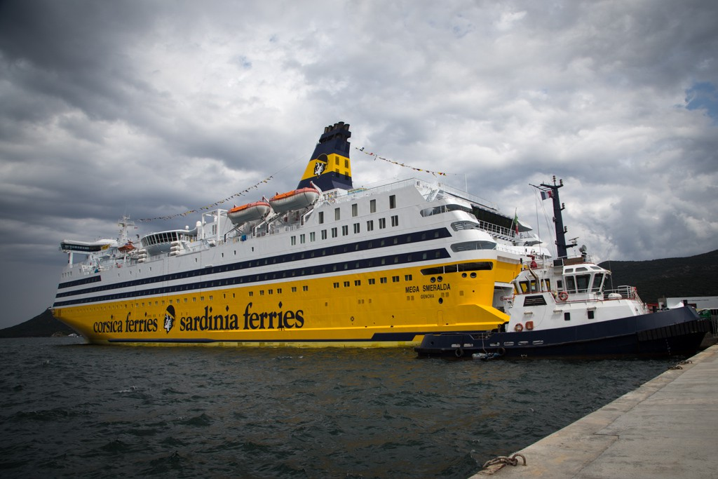 The Mega Smerelda ferry, home to the Tour de France media centre for the Corsican stages.