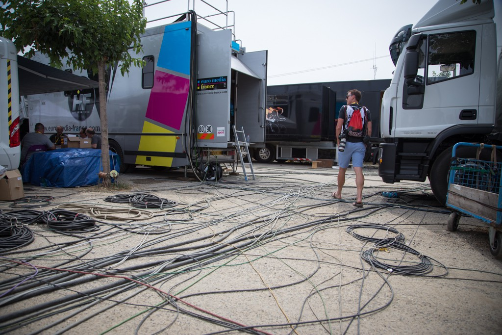 "The ""Technical Zone"" at the Tour de France. An amazing number of wires run all through the zone."
