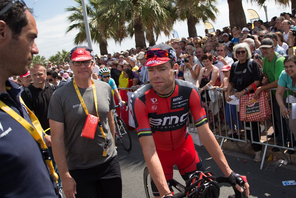 Cadel Evans is accompanied everywhere by BMC press manager Georges.