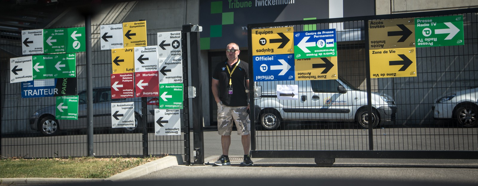 Each of these signs is for a different group of people associated with the Tour. There are more than 4,500 people involved in the Tour de France -- a massive logistical exercise.