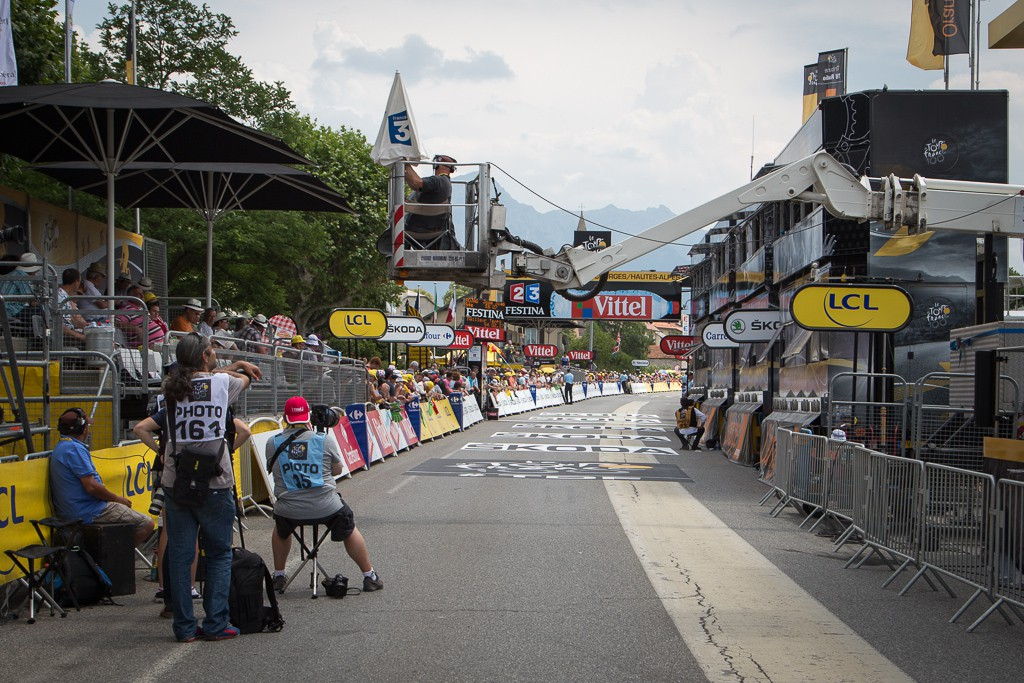 The finish line for the stage 17 ITT from Embrun to Chorges.