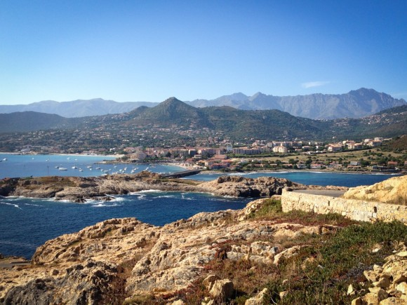 Views from the L'Ile Rousse lighthouse, looking back over L'Ile Rousse.