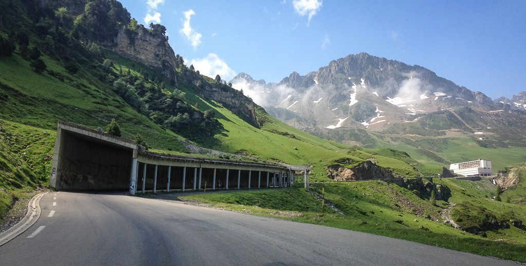 One of two tunnels on the way up the Tourmalet.