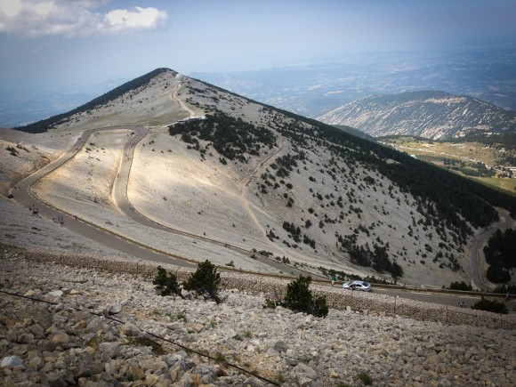 View of the descent from Mont Ventoux down towards Malaucene.