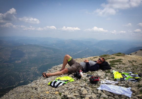 Wade has a bit of a lie down (and later, a sleep) about 800m from the summit of Mont Ventoux.