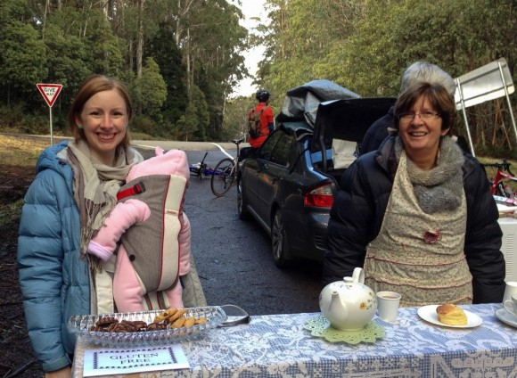 "Tam, Judy and baby Mila van Bergen at the ""high-altitude high tea""."