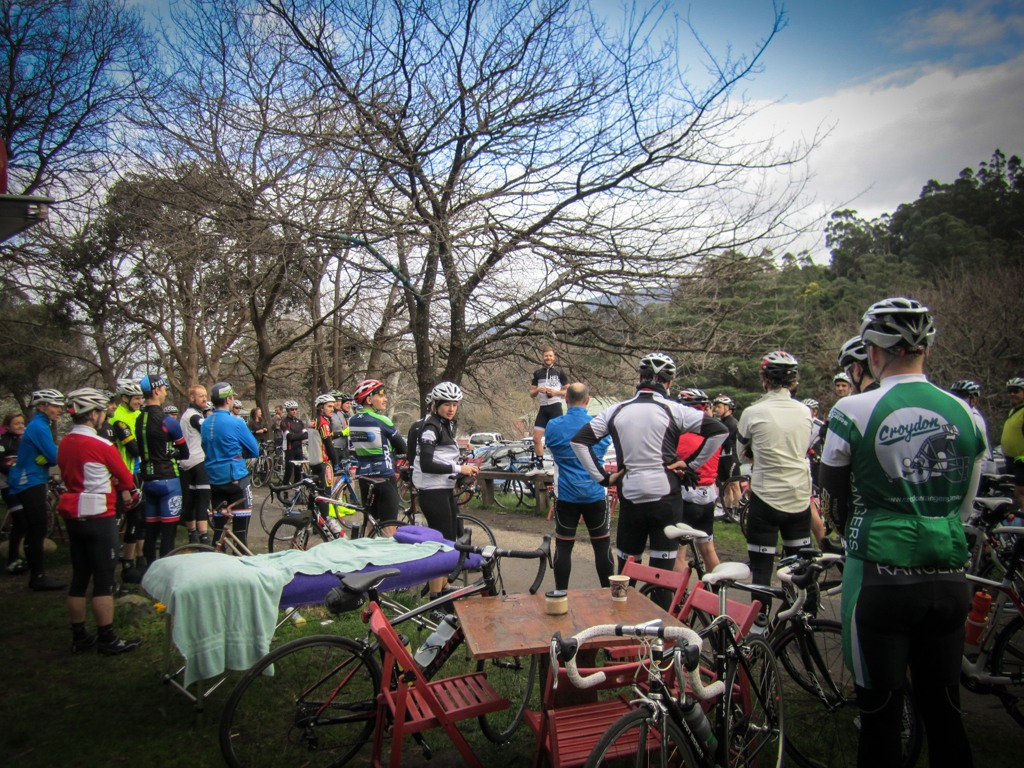 Andy van Bergen's pre-ride address (Image: Tammy van Bergen).