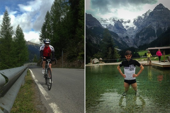 Left: In Assos country. Right: Ice bath recovery.