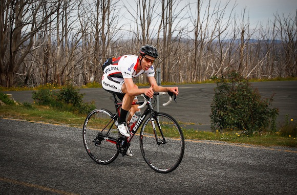 Brendan on his way to setting a new Strava KOM on Lake Mountain last year.