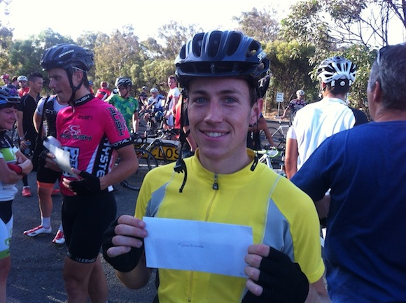 Brendan after winning his first race: a D Grade criterium at Hawthorn earlier this year.